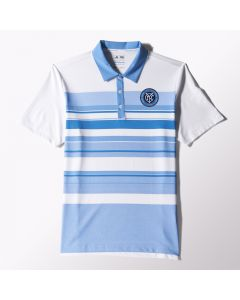 adidas NYCFC Stripe Polo Shirt - White/Light Blue