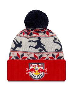 New Era NY Red Bulls Ugly Sweater Pom Beanie - White/Red