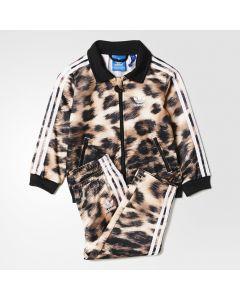 adidas Firebird Leopard Track Suit - Beige