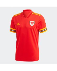 adidas Wales Mens Home Soccer Jersey 2019/20 - Red/Gold