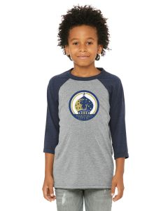 Hartford City FC Baseball 3/4 Sleeve Tee Youth - Grey / Navy
