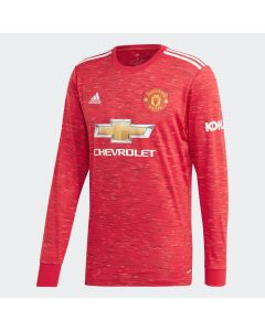 adidas Mens Manchester United Home LS Jersey 20/21-Red
